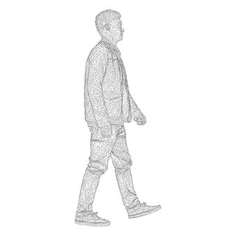 L'uomo con la giacca sta camminando da qualche parte. specie da lati diversi. illustrazione vettoriale di una griglia triangolare nera su sfondo bianco.