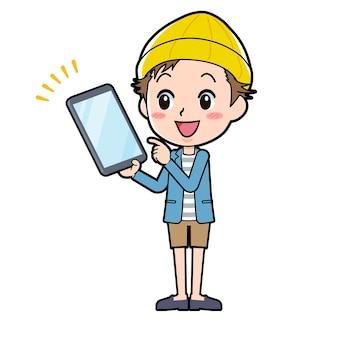Un uomo in giacca e pantaloni corti con un gesto di tablet point