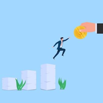 L'uomo salta tra la pila di carte per raggiungere la metafora della moneta dell'obiettivo e dello sforzo. illustrazione di concetto piatto di affari.