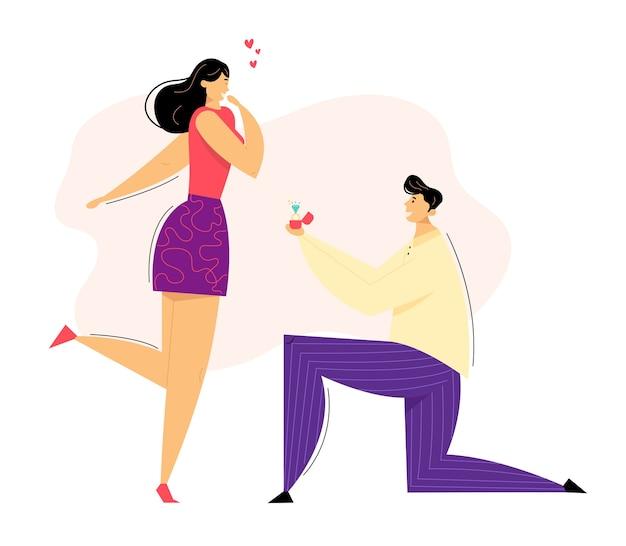 Uomo inginocchiato offrendo anello di fidanzamento alla sua ragazza. giovane ragazzo in ginocchio che propone di sposare la ragazza. proposta di matrimonio concetto.