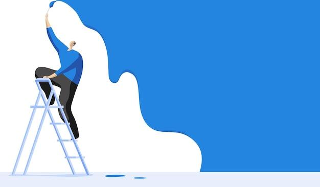 Uomo su una scala che dipinge il muro