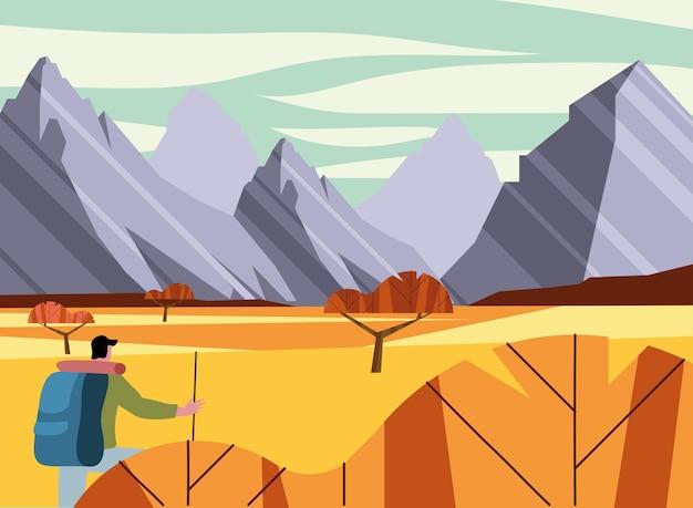 L'uomo nella scena della voglia di viaggiare nel paesaggio