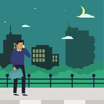 Un uomo in ritardo per tornare a casa con uno scenario notturno