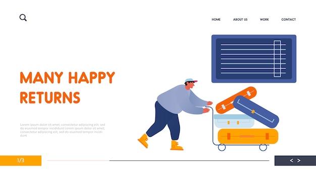 Caricatore dell'uomo che spinge il carrello con i bagagli per il caricamento nella pagina di destinazione del sito web dell'aeroplano.