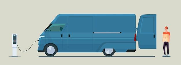 L'uomo carica le scatole in un'illustrazione di stile piano del furgone elettrico