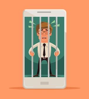 Uomo bloccato nell'illustrazione dello smartphone Vettore Premium