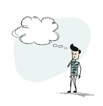 Uomo che guarda la bolla di pensiero, fondo di vettore disegnato a mano del fumetto.