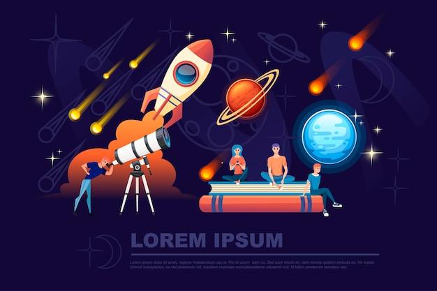 Uomo che guarda attraverso un telescopio bianco con stelle cadenti sullo sfondo del cielo notturno piatto illustrazione vettoriale planetario design banner orizzontale.