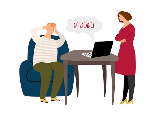 Uomo in cerca di lavoro. nessun posto vacante, la moglie è arrabbiata con il marito disoccupato. crisi finanziaria, licenziamenti e problemi nell'illustrazione di affari