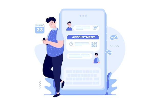 Un uomo prende un appuntamento su un concetto di illustrazione di chat mobile