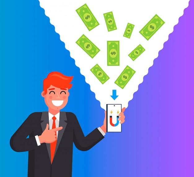 L'uomo fa soldi usando un telefono cellulare. illustrazione personaggio piatto.