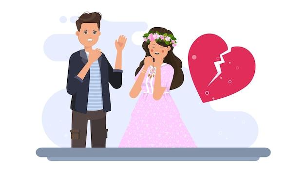 L'uomo fa la donna che piange sull'illustrazione di san valentino