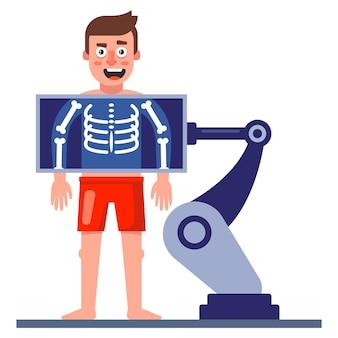 Un uomo si fa una radiografia del torace