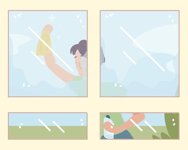 Uomo che fa la pulizia delle finestre