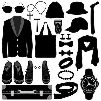 Uomo maschio abbigliamento indossare accessori fashion design.