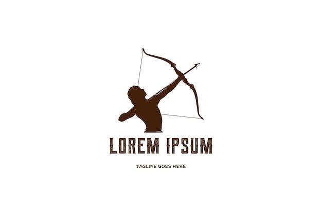 Uomo maschio ercole eracle arco arco lungo freccia mito muscolare arciere greco guerriero sagoma logo design vector