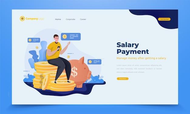 Un uomo gestisce i soldi dello stipendio per l'illustrazione del giorno di paga sul concetto di pagina di destinazione