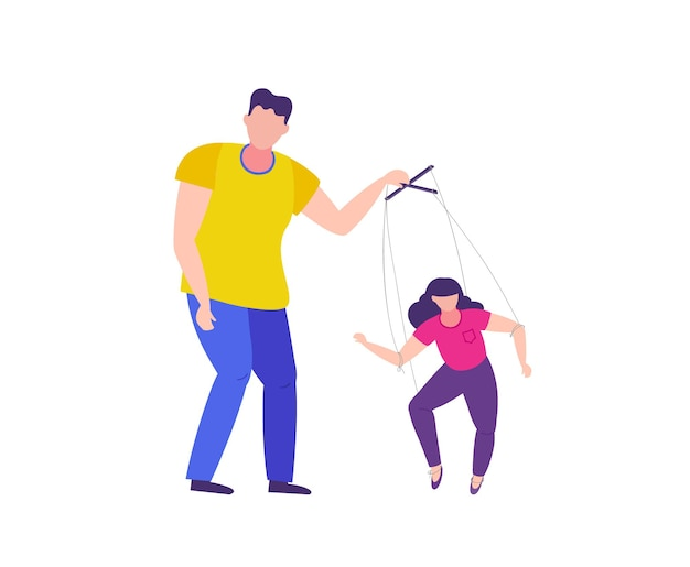 L'uomo manipola la donna violenza domestica e manipolazione sulla donna