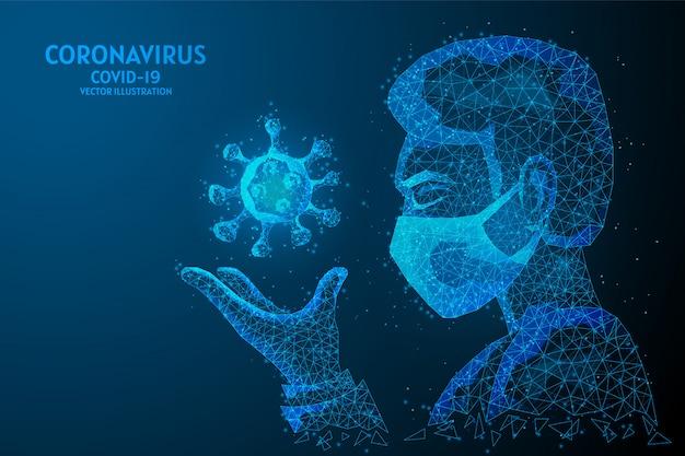 Un uomo con una mascherina medica tiene in mano un virus. concetto di coronavirus covid-19, pandemia infettiva, tecnologia medica innovativa. illustrazione di wireframe poli basso.