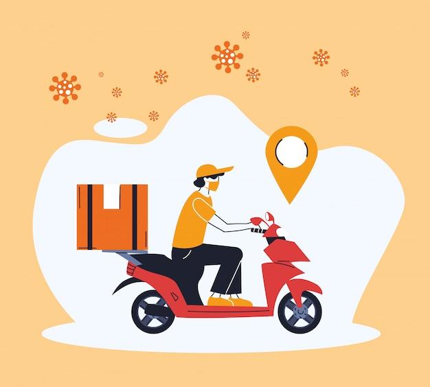 Uomo in moto consegna merce con posizione