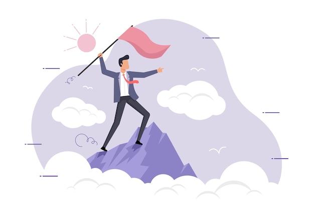 Un uomo in cima a una montagna con la bandiera
