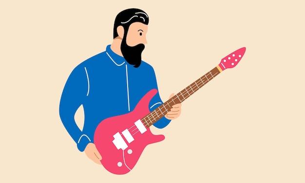Uomo musicista con chitarra elettrica electric