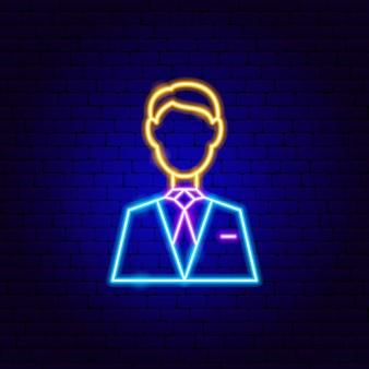 Insegna al neon dell'uomo. illustrazione vettoriale di promozione aziendale.