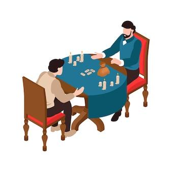 Uomo alla sessione occulta con il mago che dice la fortuna con le rune isometriche