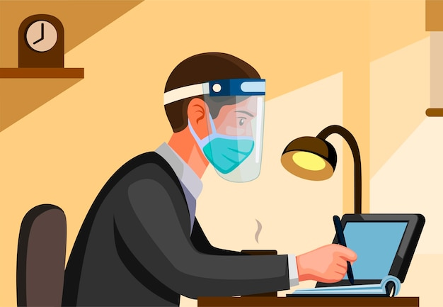 Uomo di impiegato che indossa maschera e visiera dalla vista laterale. la gente lavora e studia nella nuova scena di attività normale nell'illustrazione del fumetto con fondo