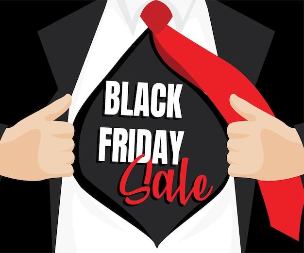Camicia aperta da uomo per mostrare la vendita del venerdì nero in stile fumetto. concetto di vendita del venerdì nero.