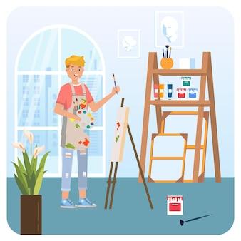Illustrazione dell'interno dello studio della pittura dell'uomo