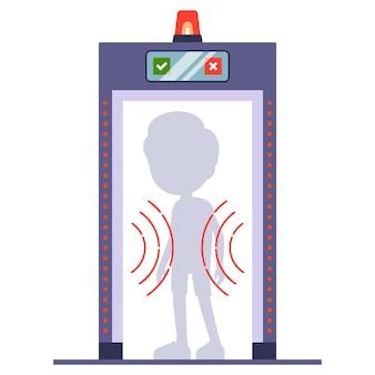 L'uomo passa un metal detector all'aeroporto. scansionare una persona attraverso. piatto