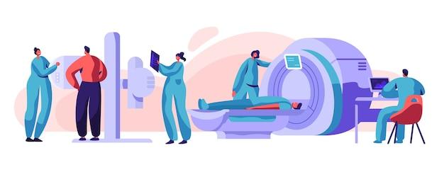 Uomo paziente controllare xray mri health concept. macchina dello schermo di radiologia medica per il controllo del torace dello scheletro di radiazioni a raggi x. osso di scansione del carattere nell'illustrazione piana di vettore del fumetto dell'attrezzatura del radiologo