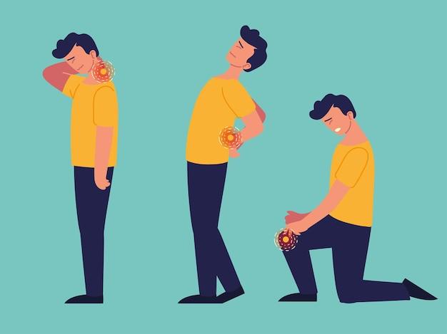 Uomo paziente che soffre di dolori articolari