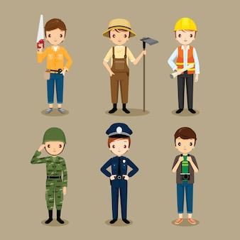 Uomo, persone con diverse occupazioni impostate