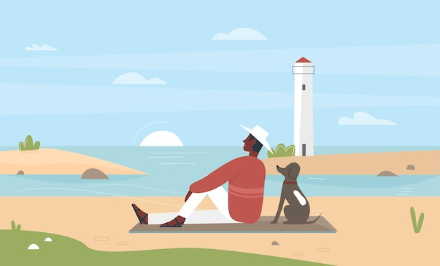 Proprietario dell'animale domestico dell'uomo che si siede sulla spiaggia del mare con l'illustrazione di vettore dell'amico del cane. personaggio maschile felice giovane del fumetto che si distende con il proprio cagnolino