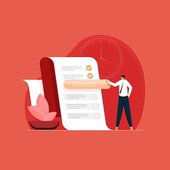 Uomo che pianifica o dà priorità alle attività da svolgere elenco di controllo e gestione del tempo del pianificatore di lavoro efficace