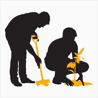 Uomo piantare silhouette set