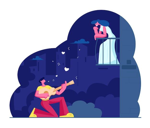 L'uomo suona la chitarra e canta una canzone alla donna sul balcone. serenata del chitarrista al chiaro di luna sulla strada della città di notte. cartoon illustrazione piatta
