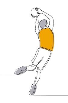Uomo che gioca a basket su una linea continua d'arte