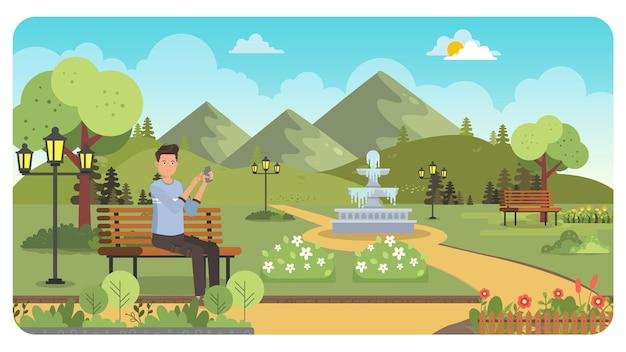 Uomo che gioca handphone all'illustrazione del giardino