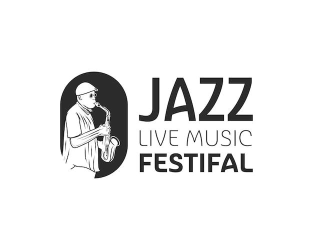 Uomo che suona il logo del sassofono. modello di progettazione del logo dell'evento del festival di musica dal vivo jazz