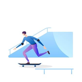 Uomo che gioca skateboard isolato su bianco