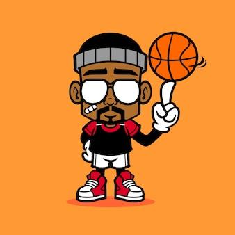 Un uomo che gioca con la palla da basket