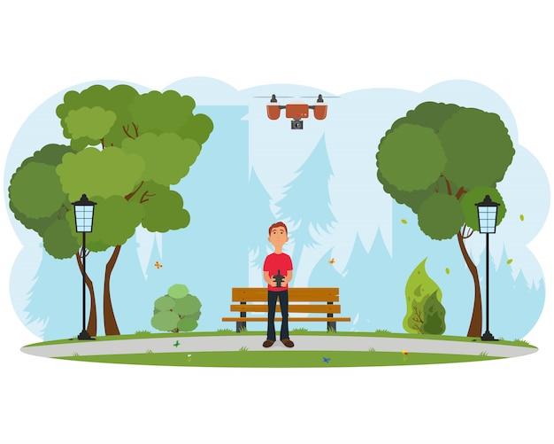 Uomo che suona con il drone.