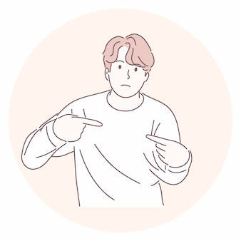Uomo che punta a se stesso con la domanda se ha fatto qualcosa di sbagliato in mano disegnata