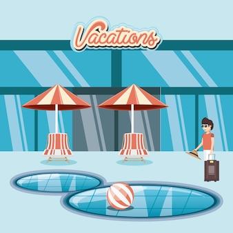 Uomo nel ilustration di vettore di scena di scena della piscina