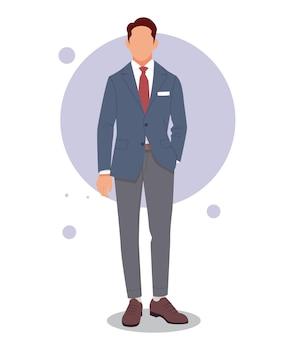 Uomo che propone in abiti eleganti