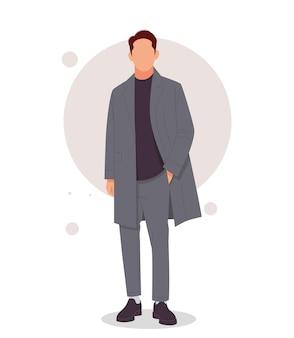 Uomo in posa in abiti eleganti