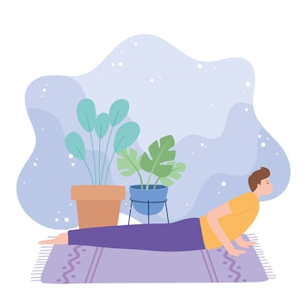 Uomo che pratica yoga bhujangasana posa esercizi, stile di vita sano, illustrazione di pratica fisica e spirituale